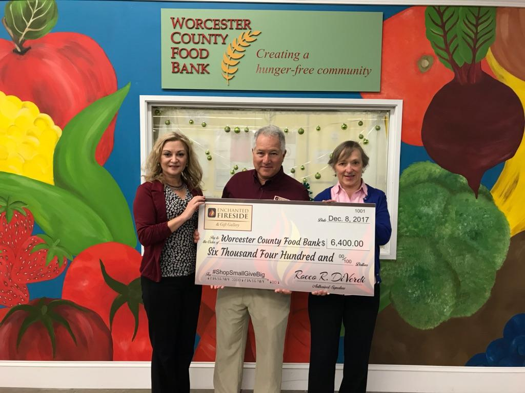Enchanted Fireside donates to Worcester County Food Bank during Shop Small Give Big promotion in November